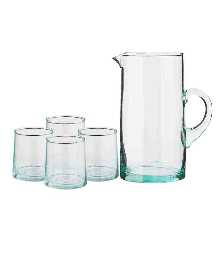 Set of Tall Recycled Moroccan Jug and 4 Mid Glasses, Clear