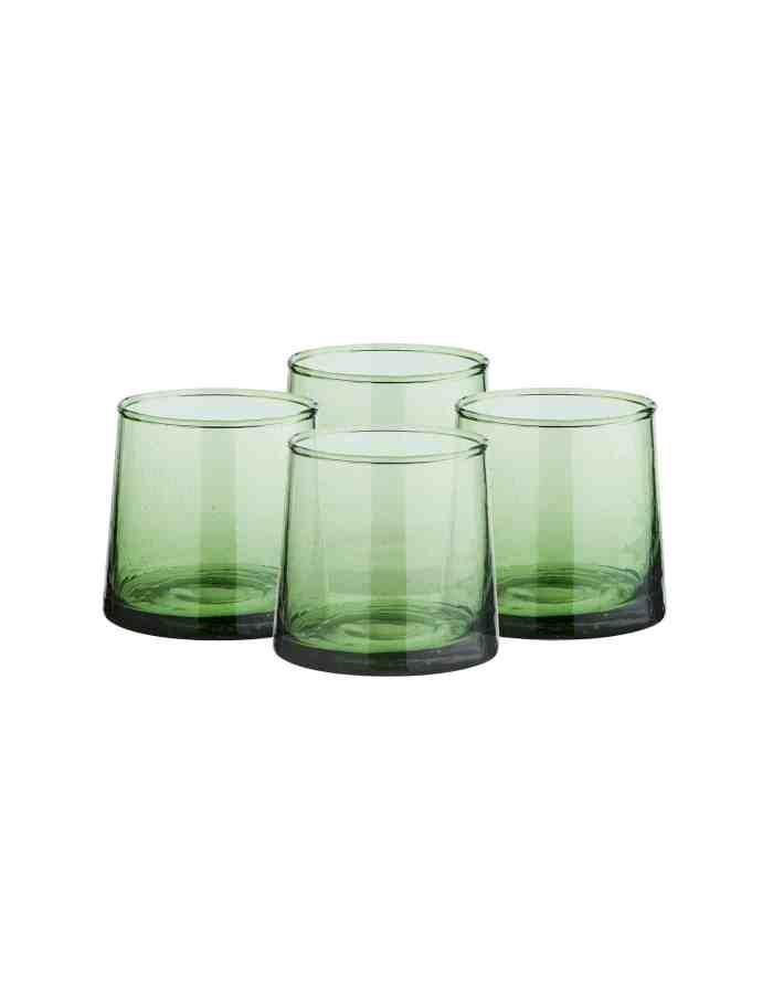 Set of 4 Low Recycled Moroccan Beldi Glasses, Green