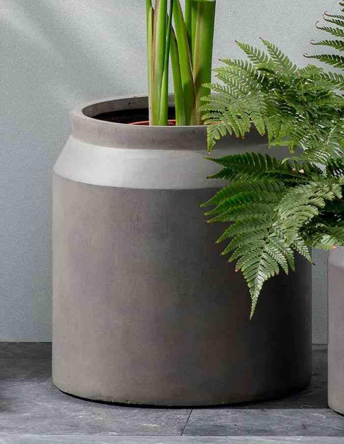 Set of 2 Contemporary Clay Planters, Pebble