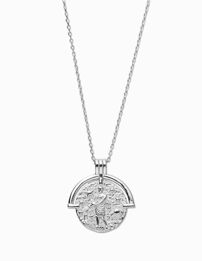 Aquarius Zodiac Necklace with Coin Pendant, Sterling Silver