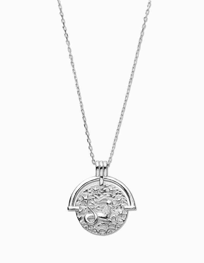 Capricorn Zodiac Necklace with Coin Pendant, Sterling Silver