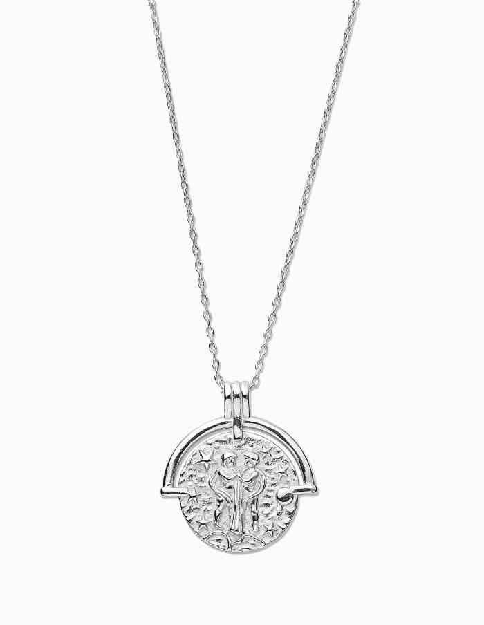 Gemini Zodiac Necklace with Coin Pendant, Sterling Silver