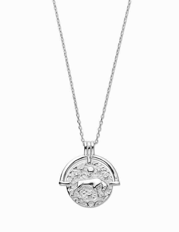Taurus Zodiac Necklace with Coin Pendant, Sterling Silver
