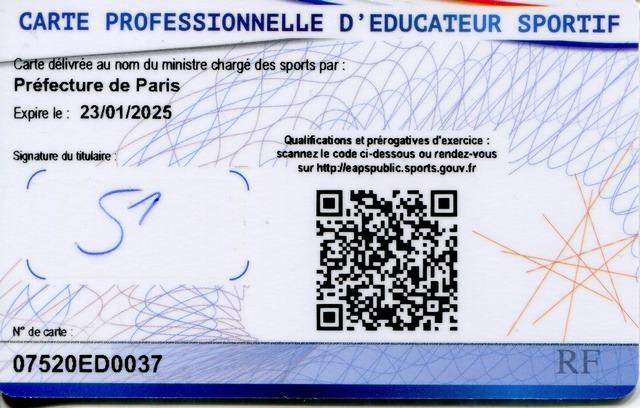 Carte professionnelle d'éducateur sportif - Verso