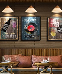 Vintage Abstract Wine Posters Canvas, Vintage Wall Art For Dining Room
