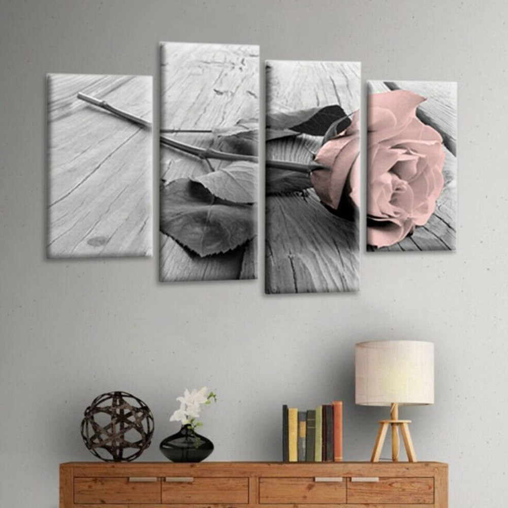Pink Grey White Love Rose Floral Canvas Wall Picture Frameless Home Decor !