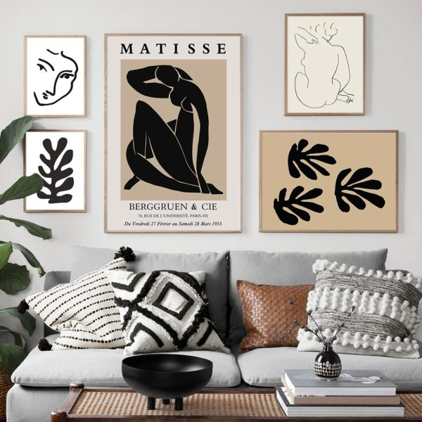 Abstract Matisse Line Body Art Leaf Plant Wall Art Canvas Painting Nordic Posters And Prints Wall Pictures For Living Room Decor Nordic Wall Decor