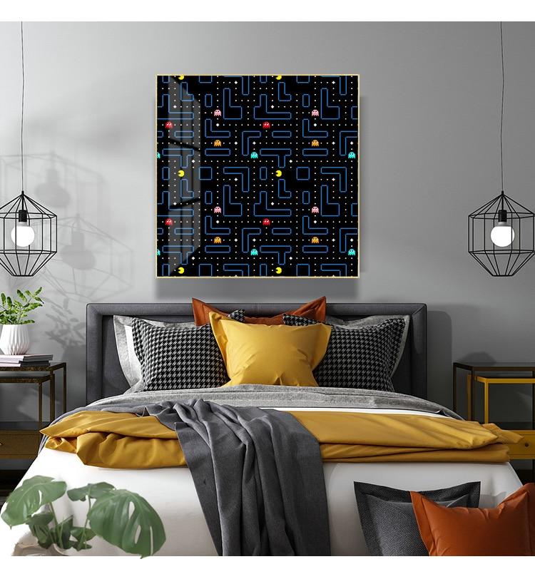 Classic Arcade Game Pac-Man Retro WallArt Canvas Painting Nordic Room Home Decor