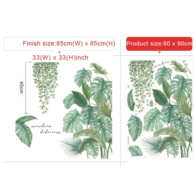 Nordic Style Tropical Plants Leaves Wall Stickers For Living Room Bedroom Eco Friendly Vinyl Wall Decals Art Poster Home Decor Nordic Wall Decor