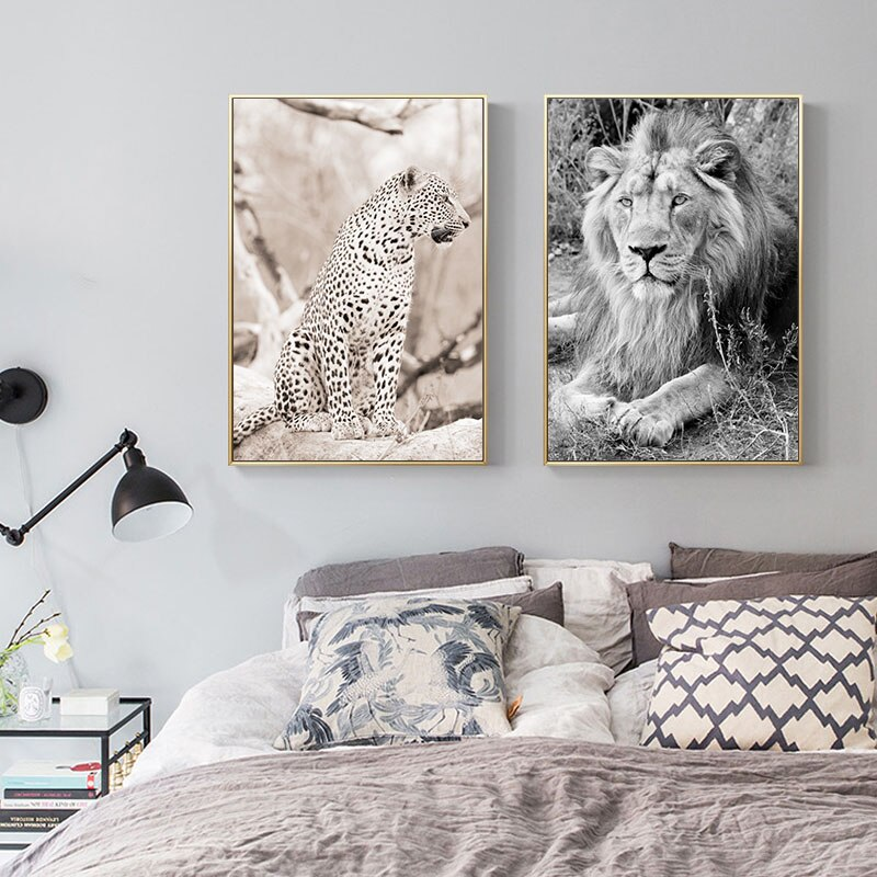 Wild Animal Lion Poster Art Print Wall Pictures Nordic Black and White Canvas