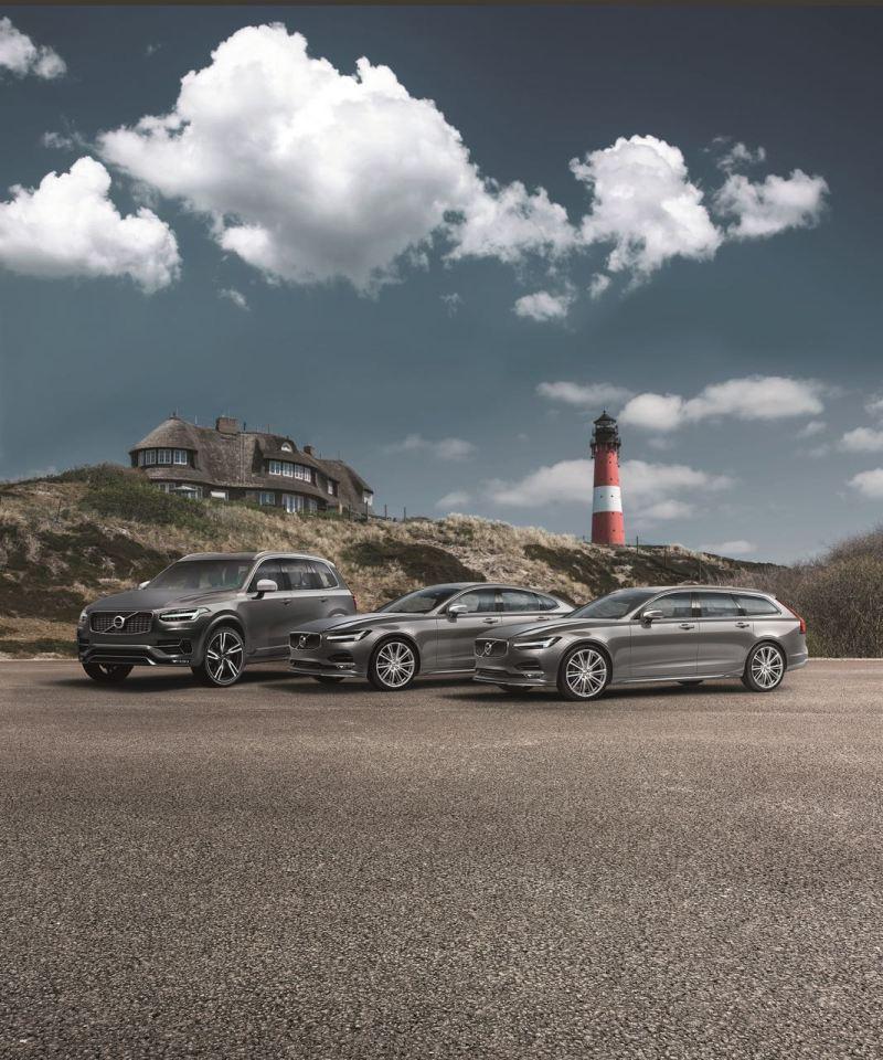 Volvo XC90, Volvo S90 und Volvo V90. Die Schwedenflotte auf Sylt. Bild: Volvo PV
