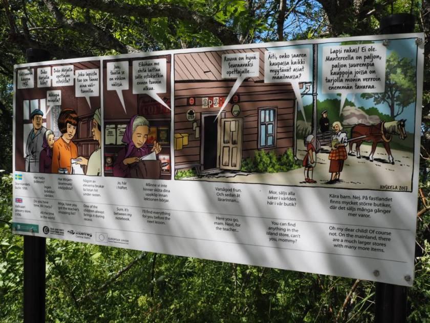 Lebendige Schilder in 3 Sprachen erklären auf den Rundwegen die Insel und ihre Geschichte