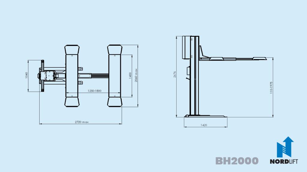 Nordlift 1-Säulen-Hebebühne BH-2000 Datenblatt
