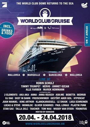 Das FULL LINE UP für die World Club Cruise 2 steht fest!