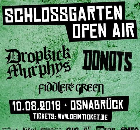 Der Countdown läuft - Schlossgarten Open Air 2018 am 10. August - Donots, Dropkick Murphys, Fiddlers Green
