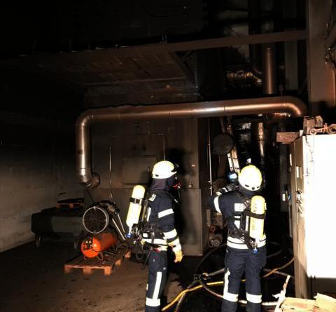 Feuer im Heizkraftwerk sorgt für Großeinsatz - Unter Atemschutz mussten die Feuerwehrleute am Dienstagabend einen Heizkessel in einem Gartenbaubetrieb löschen. Ein Feuerwehrmann wurde dabei durch Rauchgase leicht verletzt. Bild: Schütte