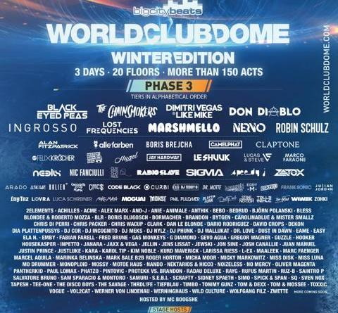 BigCityBeats WORLD CLUB DOME Winter Edition 2018: Line-up, Phase 3 eu dabei: Sebastian Ingrosso, Claptone, HUGEL, Boris Brejcha,Felix Kröcher u. v. a.