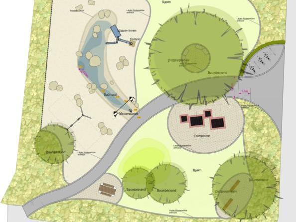 """Spielplatz an der Daimlerstraße wird aufgewertet Entwurfsgrafik © Büro """"Die Grünplaner"""""""