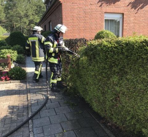 Heckenbrand im Ortsteil Jägerhöhe - Anwohner löschen selber - Fotoi: SG Sögerl/Feuerwehr