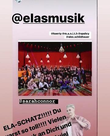 Sarah Connor bedankt sich bei Ela. und wünscht ihr viel Glück für ihr Album »Liebe & Krieg«