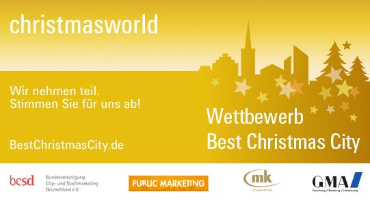 """Mit dem Titel """"Best Christmas City"""" kürt die Messe Frankfurt GmbH den schönsten Weihnachtsmarkt in Deutschland. Auch der Meppener Weihnachtsmarkt misst sich dabei mit Weihnachtsmärkten in ganz Deutschland (Copyright: Messe Frankfurt GmbH)."""