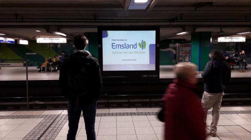 Mit verschiedenen Werbeträgern war das Emsland im Ruhrgebiet präsent, an zentralen Straßen genauso wie an Bahnhöfen (Quelle: Ströer Media)