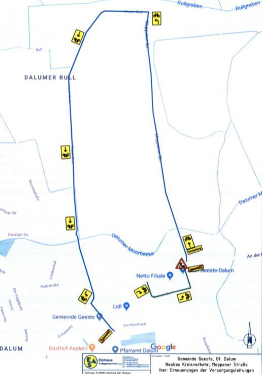 Neuer Kreisverkehr in Geeste - Veränderte Verkehrslage an der Meppener Straße von Januar bis März - Foto / Skizze: Gemeinde Geeste