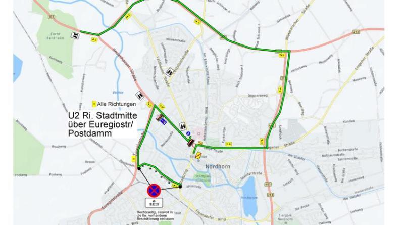 Kanalbauarbeiten auf der Neuenhauser Straße ab dem 10. Februar führen zu Verkehrsbehinderungen an der Kreuzung zum Stadtring - Skizze: Stadt Nordhorn