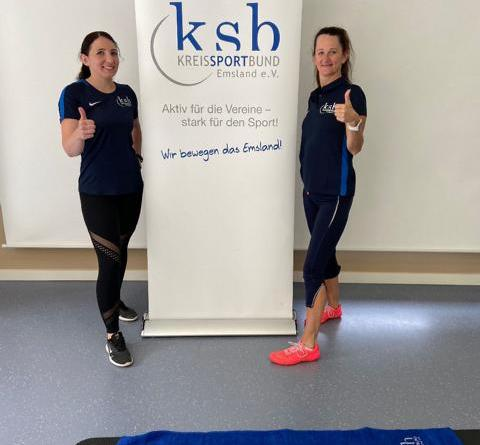 Interessante Sportangebote werden von den KSB-Referentinnen Jessica Bloem und Marion Böttick in den neuen Workout-Videos vom KSB Emsland vorgestellt. Foto: Patrick Vehring