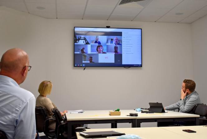 Videokonferenz des Landrates mit den Leitungen der kreiseigenen Schulen. Foto: Landkreis Grafschaft Bentheim