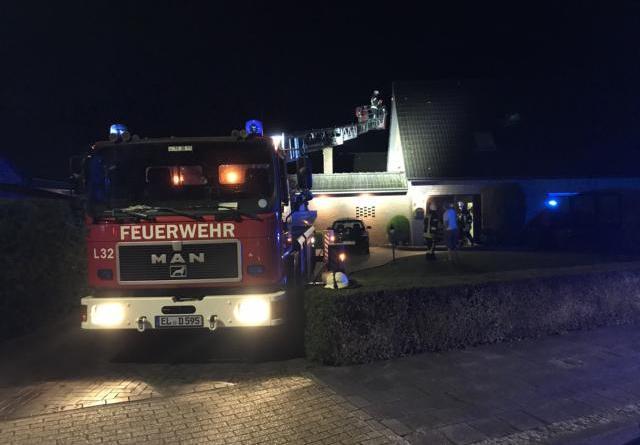 Blitz schlägt in Wohnhaus ein- Bewohner stellen Brandgeruch im Dachgeschoss fest- Foto: SG Dörpen / Feuerwehr