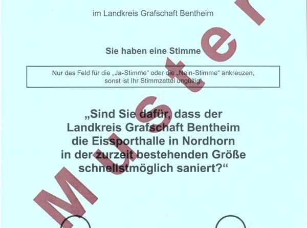 Muster des Abstimmungszettels. Foto: Landkreis Grafschaft Emsland