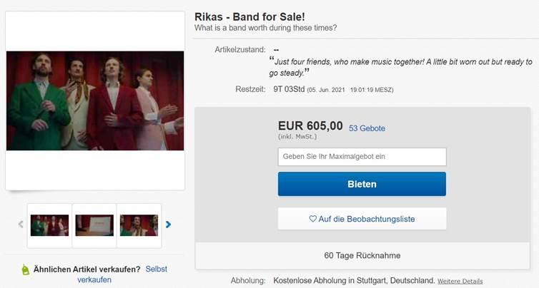 Rikas: Stuttgarter Band präsentiert neue Single und stellen sich bei eBay zu verkauf