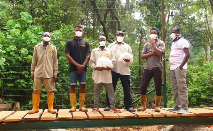 Drill-Tierpfleger-Nigeria-mit-den-neuen-Masken-von-Fa-Wilvorst - Foto: Pandrillus