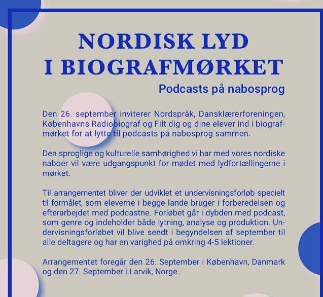 Nordisk lyd i biografmørket: Podcast på nabosprog.