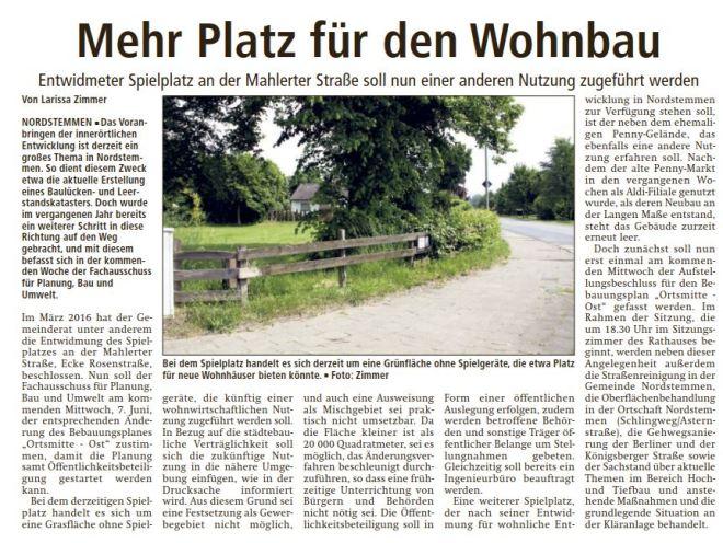 Mehr Platz für den Wohnbau Mahlerter Straße (LDZ vom 31.05.17)