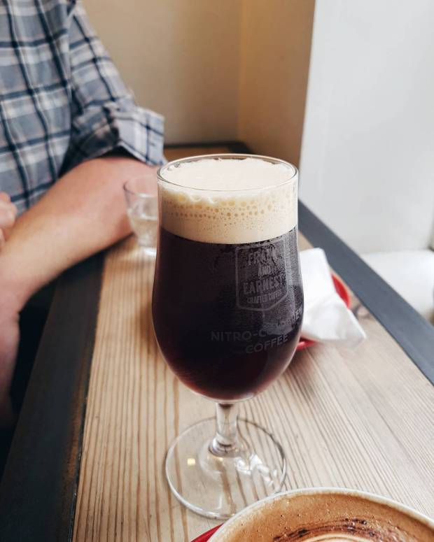 Nitro cold brew coffee at Little Red Roaster, Norwich