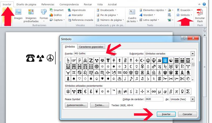 Como insertar símbolos en Microsoft Word
