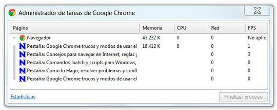 Liberar memoria y administrar pestañas en Google Chrome con el Administrador de tareas