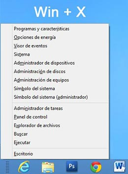 Menu Win-X en Windows 8