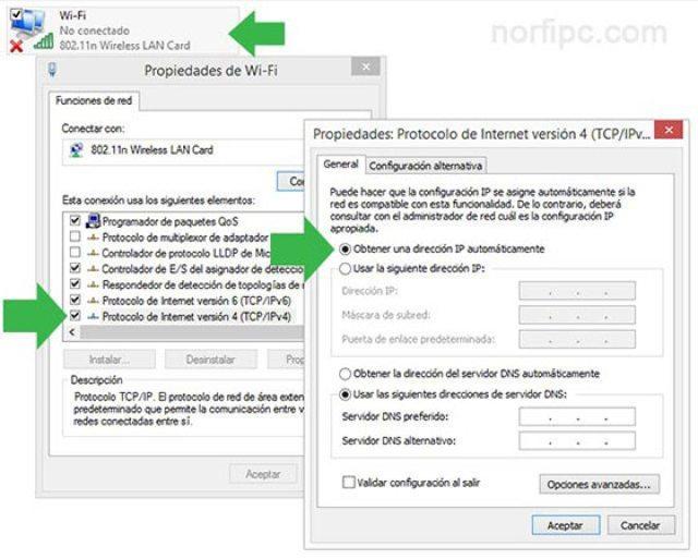 Habilitar DHCP en las Propiedades de la conexión Wi-Fi en Windows