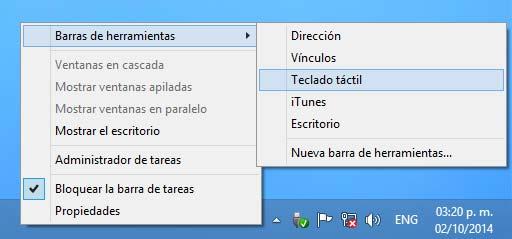 Activar el Teclado táctil en la barra de actividades de Windows