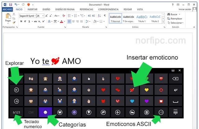 Usar el Teclado táctil para escribir simbolos Emoji en Microsoft® Word