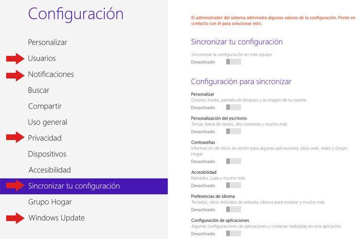 Panel de Configuración de Windows 8 donde desactivar características del sistema que hacen uso de la red