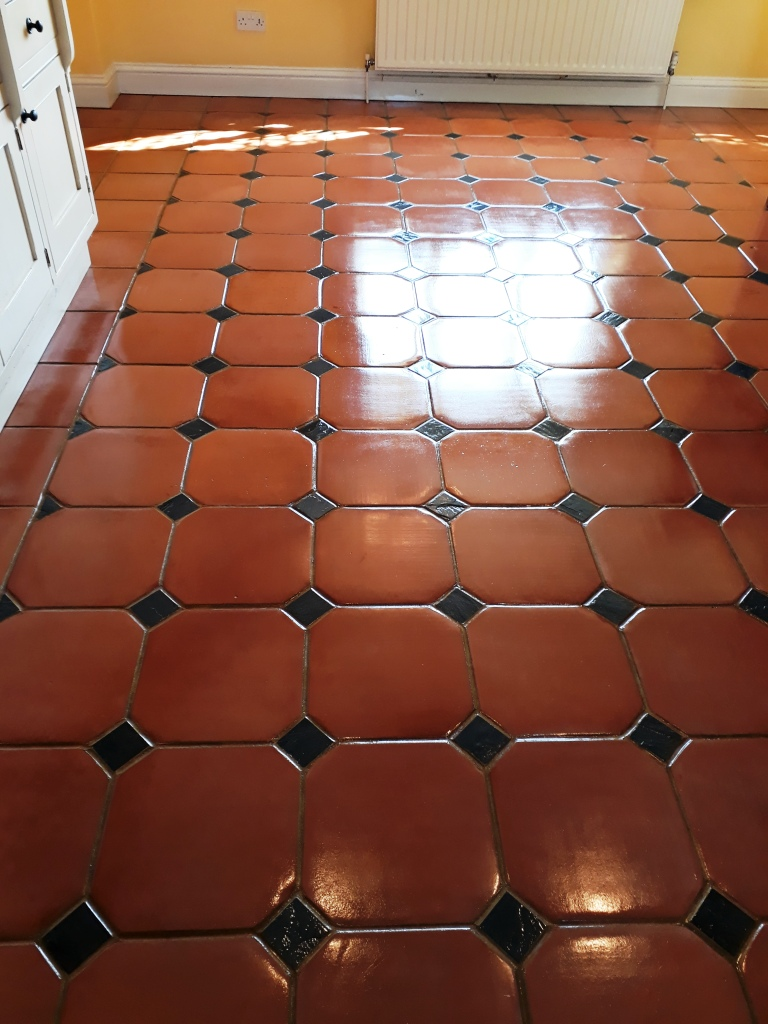Large Terracotta Tiled Floor After Cleaning Docking