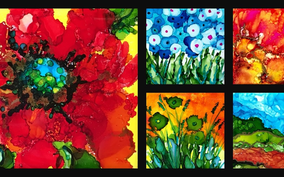Alcohol Ink Tiles with Sue Peristere