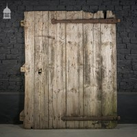Rustic Pine Barn Door with Original Strap Hinges