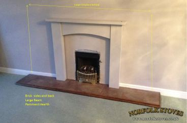Gas fire with estimated original fireplace size drawn out