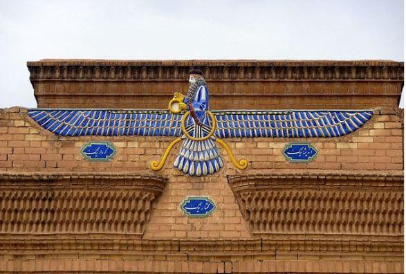 Farvahar zoroastrien (rappelant Mishra/Shamash)