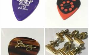 DELRIN 500 Standard 2mm 65円、グリスマン DAWG ピック 250円、DAVA ピック 120円 Power Pins 7500円